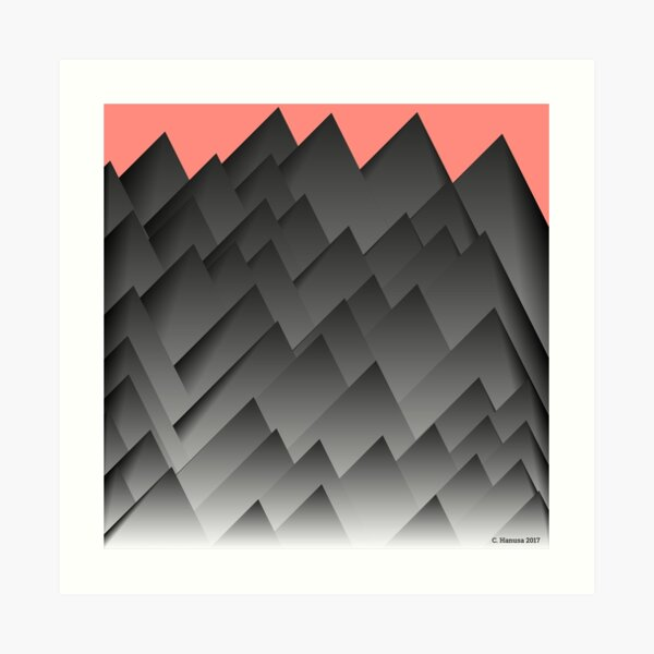 Shadowed Mountains - Generative Mathematical Art Art Print