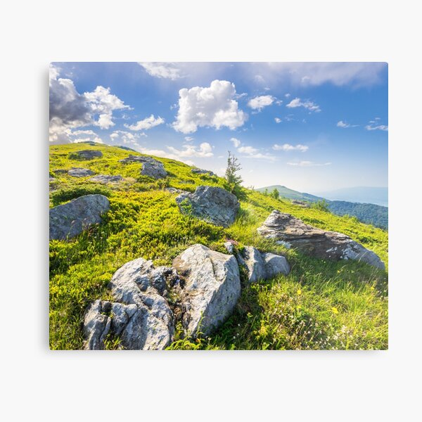 boulders on the hillside in high mountains at sunrise Metal Print