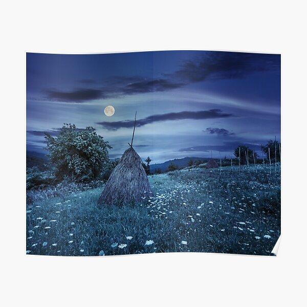 field with haystacks on hillside at night Poster
