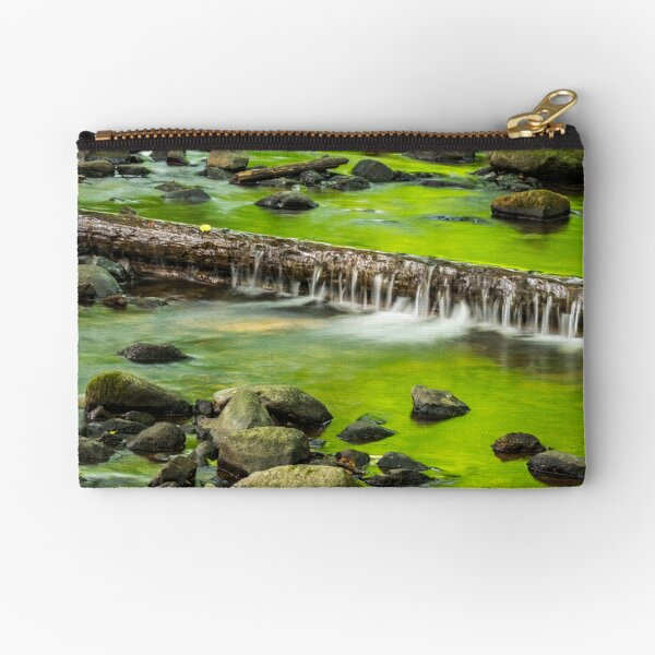 cascade on the little stream with stones in forest Zipper Pouch
