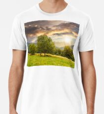 meadow near the forest in mountains at sunset Premium T-Shirt