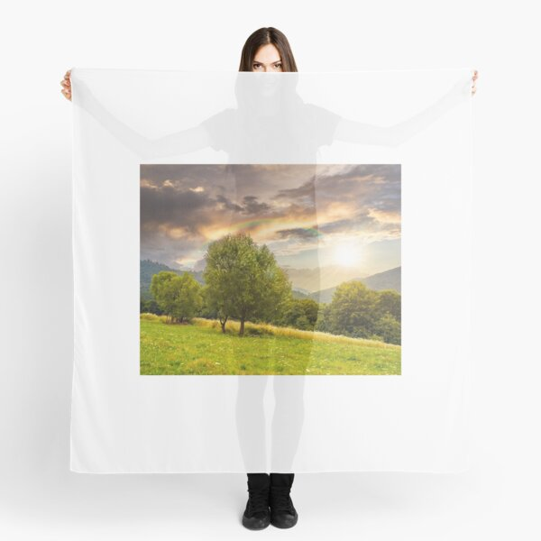 meadow near the forest in mountains at sunset Scarf