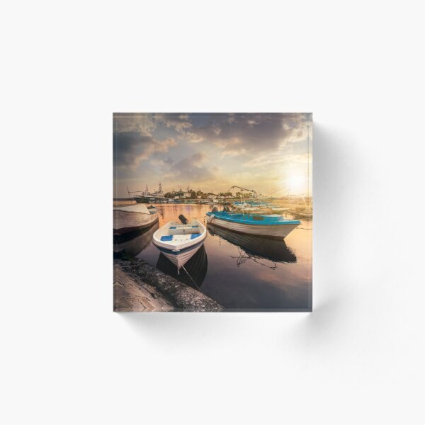 fishing boats in port of Sozopol  at sunset Acrylic Block