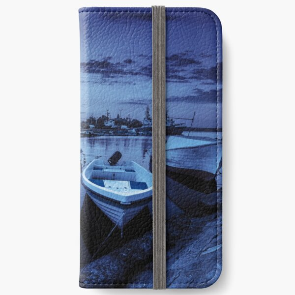 fishing boats in port of Sozopol at night iPhone Wallet