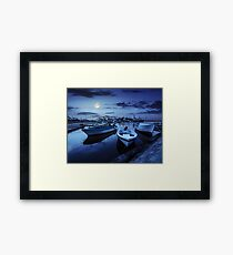 fishing boats in port of Sozopol at night Framed Print