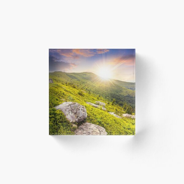white boulders on the hillside at sunset Acrylic Block
