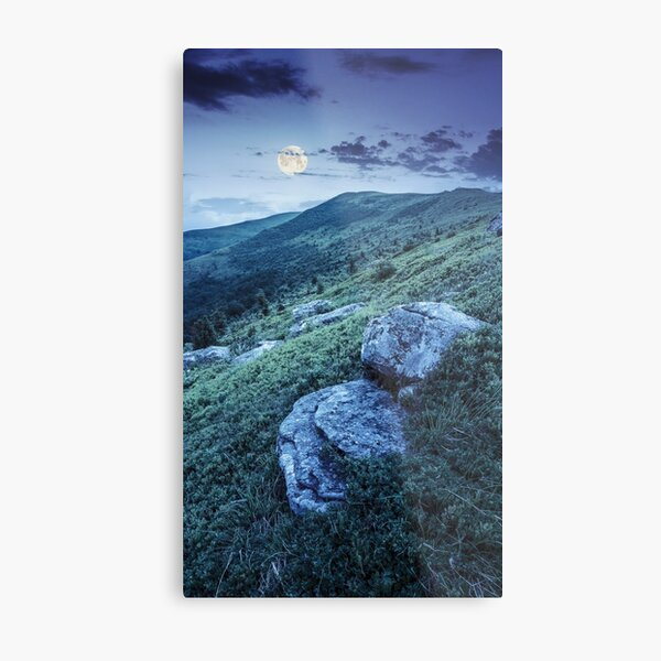 white boulders on the hillside at night Metal Print