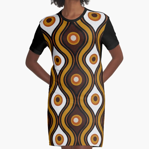 Retro 1970's Style Seventies Vintage Pattern Graphic T-Shirt Dress