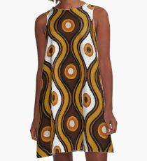Retro 1970's Style Seventies Vintage Pattern A-Line Dress