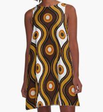Retro 1970's Style Seventies Vintage Pattern A-Line Dress
