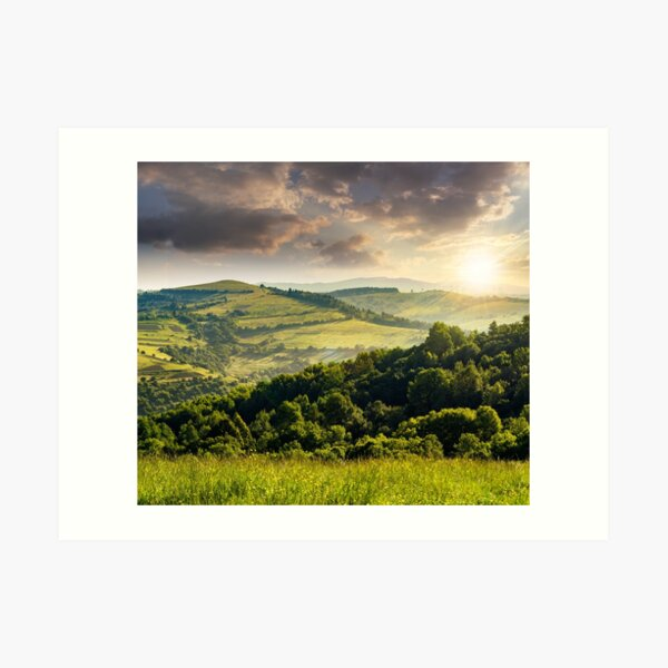 agricultural fields in mountains at sunset Art Print