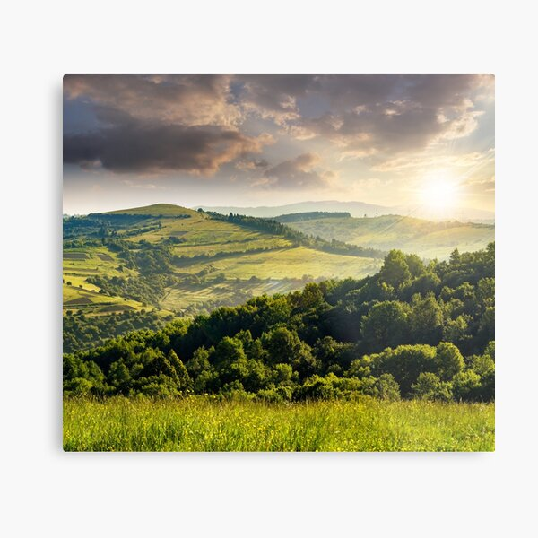 agricultural fields in mountains at sunset Metal Print