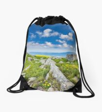 dandelions among the rocks on hillside Drawstring Bag
