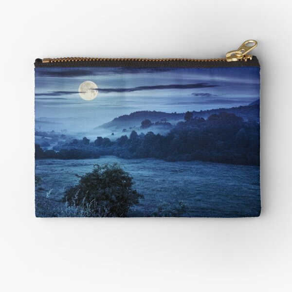 cold fog at night in mountains Zipper Pouch