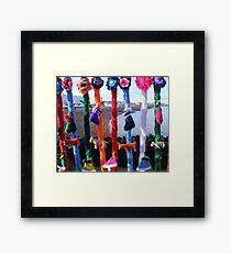 Yarn bomb Christmas Stocking style Framed Print