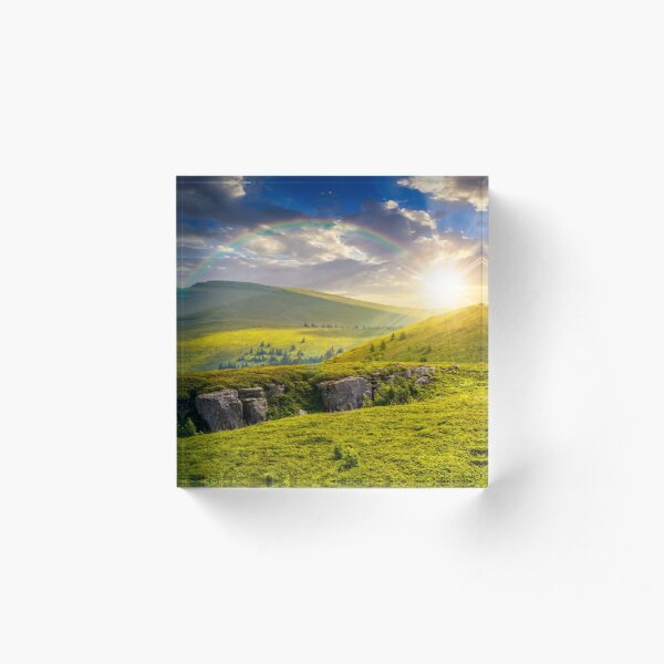 mountain peak behind hillside with boulders at sunset Acrylic Block