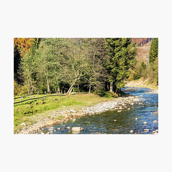 river in autumn mountain forest  Photographic Print