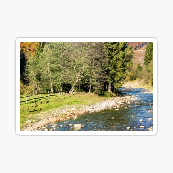 river in autumn mountain forest  Sticker