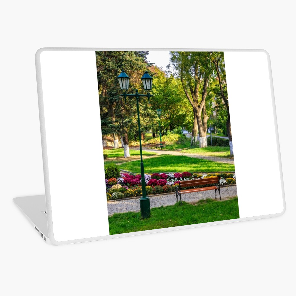 City lights in the park Laptop Skin