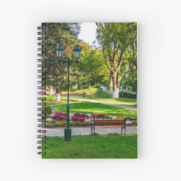 City lights in the park Spiral Notebook