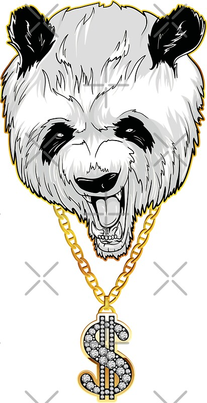 Panda gangster with gold dollar chain necklace t shirt by peter pajer