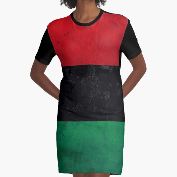 Distressed Afro-American / Pan-African / UNIA flag Graphic T-Shirt Dress