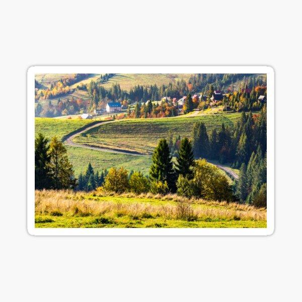 village on hillside near forest Sticker