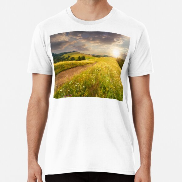 road through the meadow on hillside at sunset Premium T-Shirt