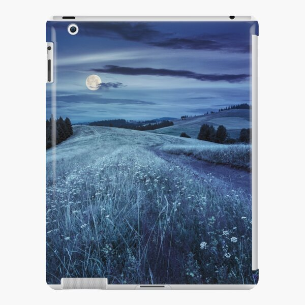 road through the meadow on hillside at night iPad Snap Case