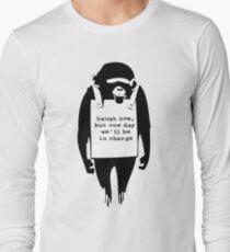 Banksy Print Monkey Laugh Now Chimp  Long Sleeve T-Shirt