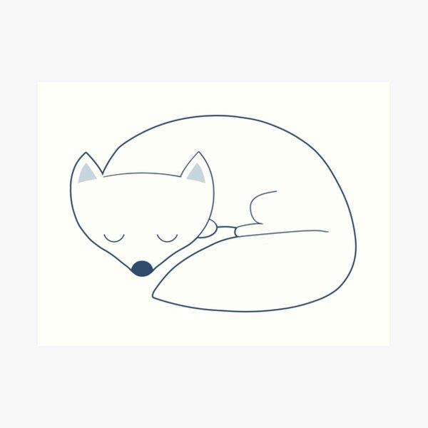 Arctic Fox white asleep Art Print