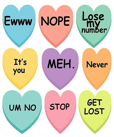Mean Conversation Hearts Anti Valentine S Day Candy Hearts Posters