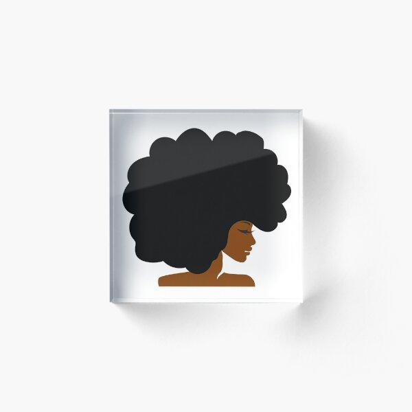 Big Curly Afro Natural Hair Black Woman Acrylic Block