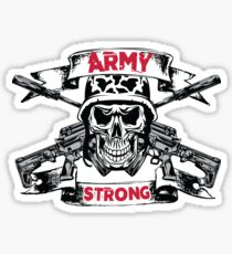 Army Strong Skull and Cross Rifles Pirate Sticker
