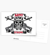 Army Strong Skull and Cross Rifles Pirate Postcards