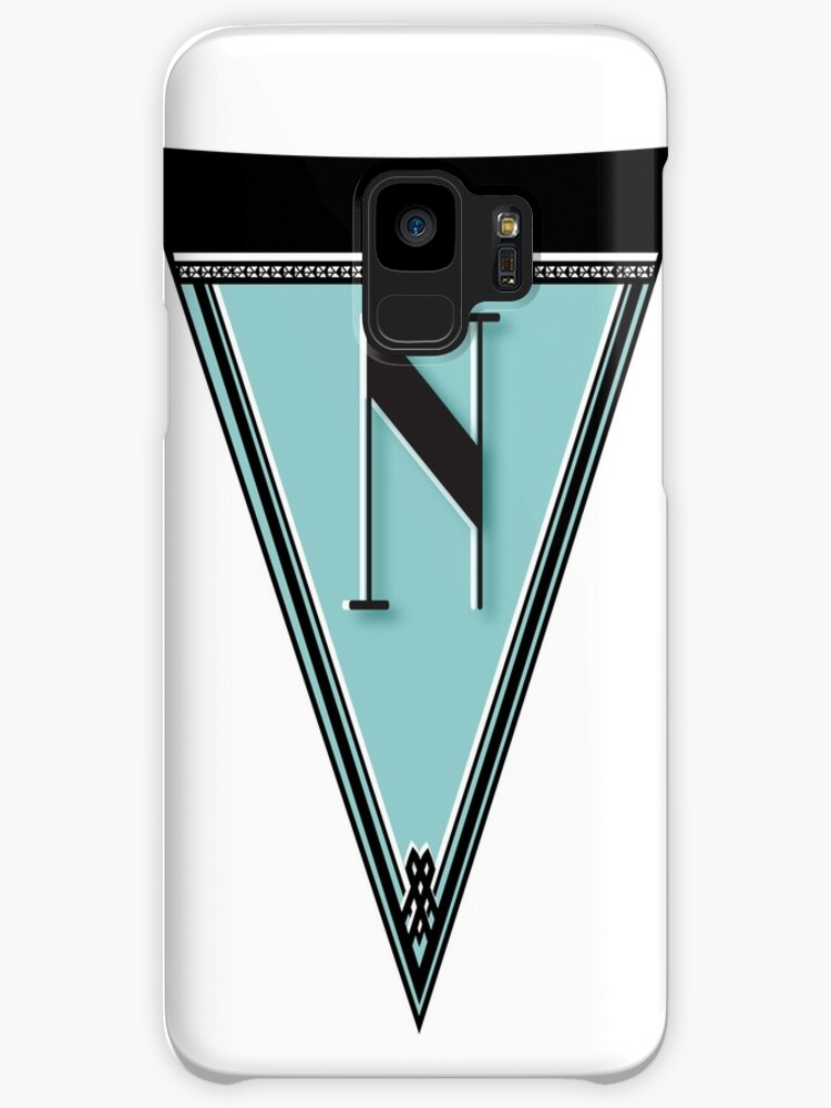 Pennant Deco Blues Monogram  … initial N by CecelyBloom
