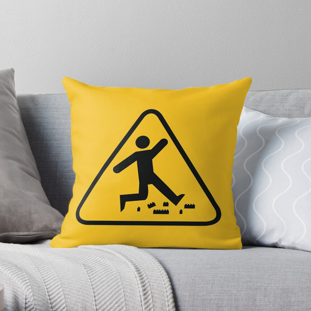 Warning Toy Plastic Bricks Throw Pillow By Ysied Redbubble