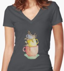 Stacked Women's Fitted V-Neck T-Shirt