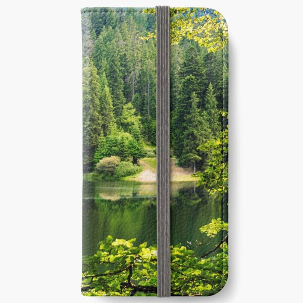 lake in pine forest iPhone Wallet