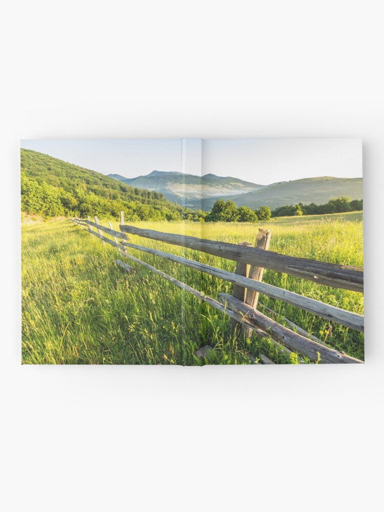 Alternate view of fence on hillside meadow in mountain Hardcover Journal