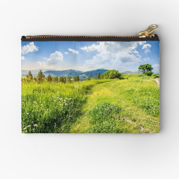 road through the meadow on hillside Zipper Pouch