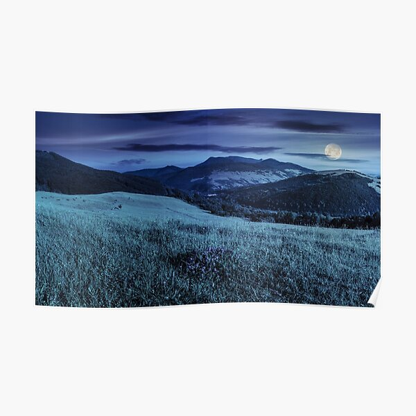 valley in mountains  on hillside under sky with clouds at night Poster