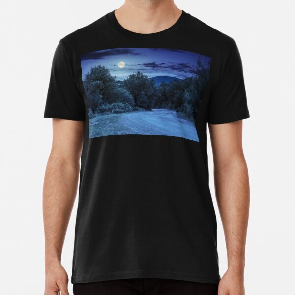 road through the forest in mountains at night Premium T-Shirt