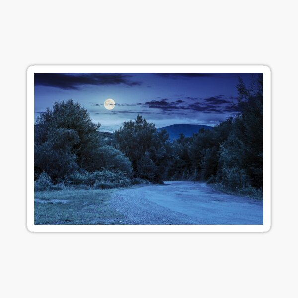 road through the forest in mountains at night Sticker