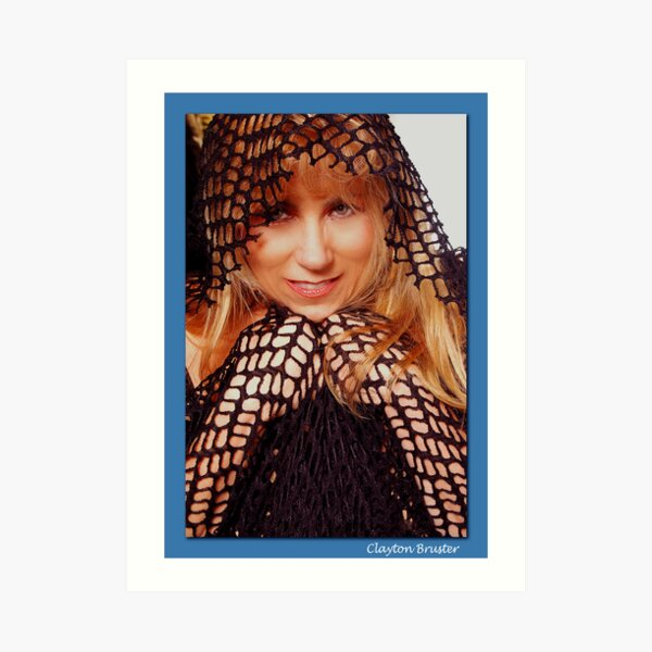 Beatuful Blond in Mesh Cape with Hood Art Print