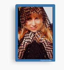 Beatuful Blond in Mesh Cape with Hood Canvas Print