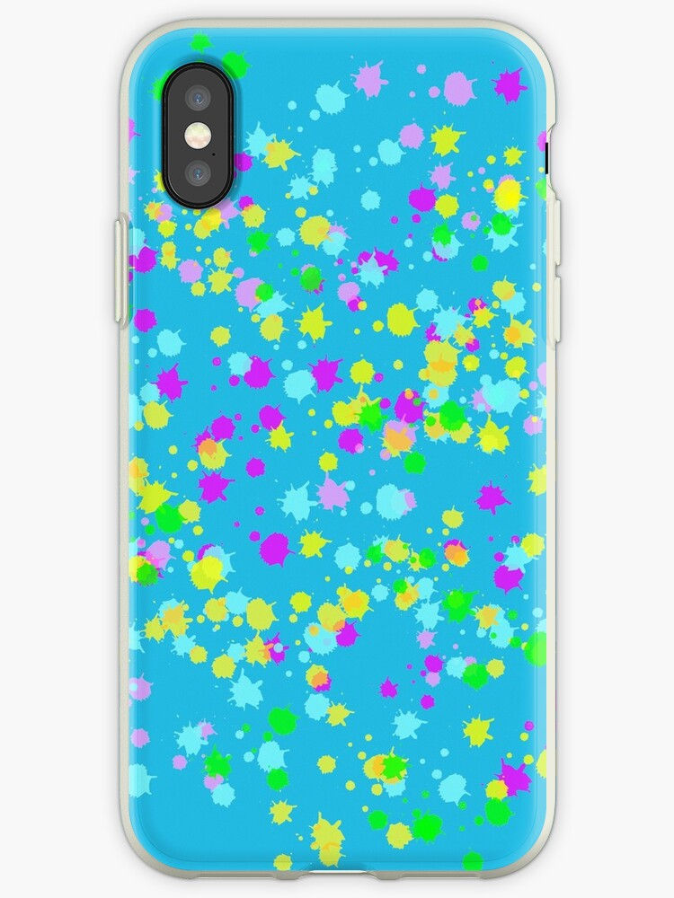 Abstract Paint Splatter Bright Colors Iphone Case By Customshirtgirl