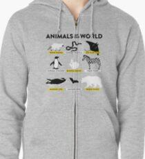 Animals of the world Zipped Hoodie