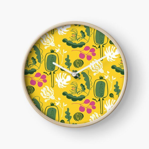 seedpots and plants in yellow and green Clock