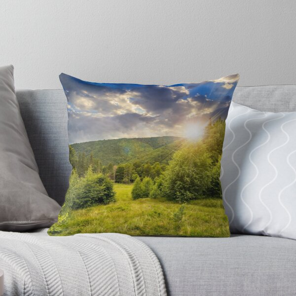 forest glade on hillside at sunset Throw Pillow